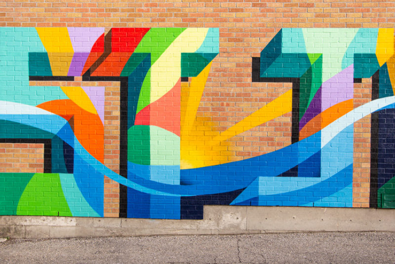 Stephanie Boutari's colourful mural located in St. Jacobs
