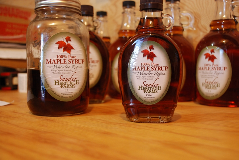 jars of amber coloured maple syrup from Snyder Heritage Farms in Bloomingdale