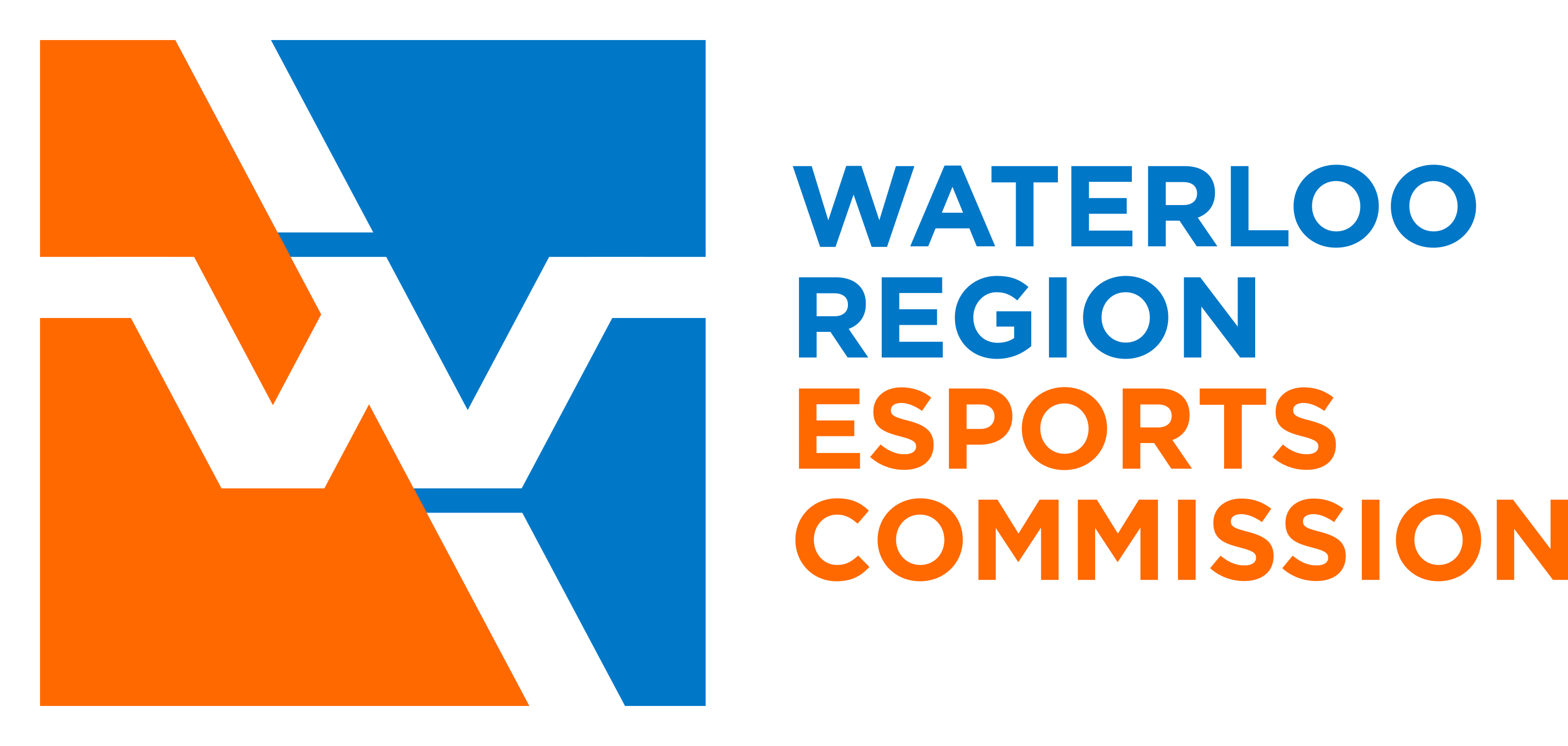 the blue, orange and white logo for the Waterloo Region Esports Commission with a stylized W on the left, and the words Waterloo Region Esports Commission stacked on top of each other on the right