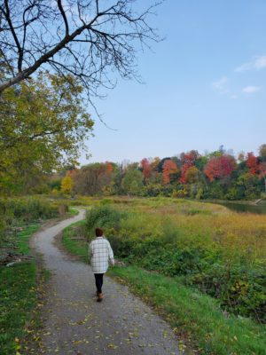 a woman wearing a white jacket and jeans walking along the Walter Bean Trail; the leaves on the trees around the trail are beginning to colour and it is a sunny fall day